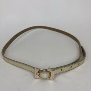 Talbots gold bow buckle belt